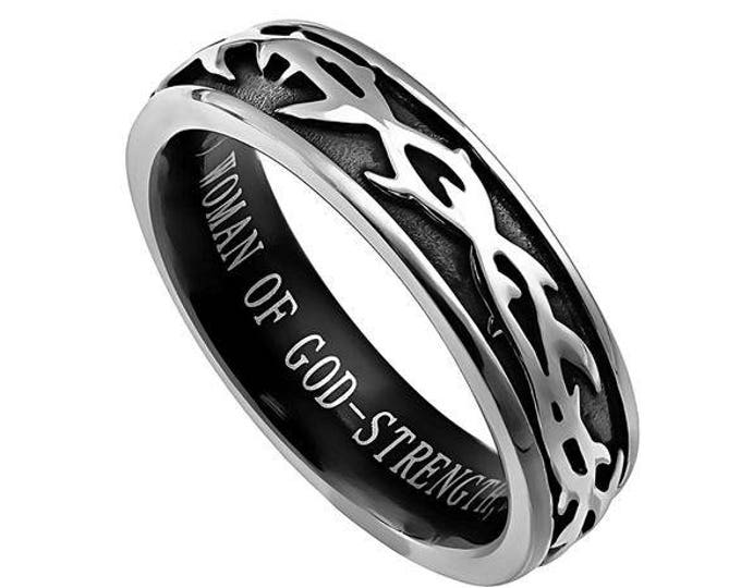 """Crown of Thorns Ring """"Woman Of God"""""""