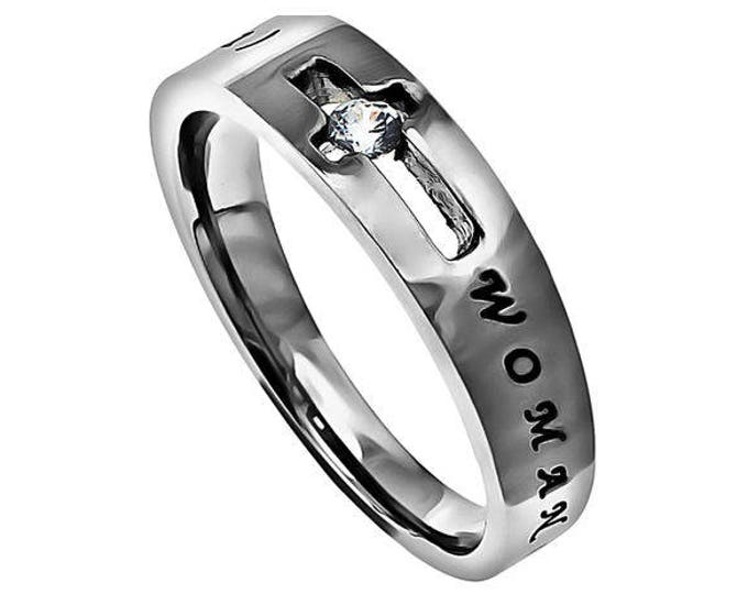 """Solitaire Ring """"Woman Of God"""""""