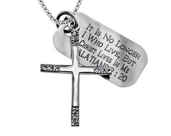 CZ Tip Cross Necklace/Custom Verse Tag- Women's
