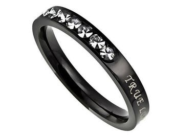 "Ebony Beauty Ring ""True Love Waits"""