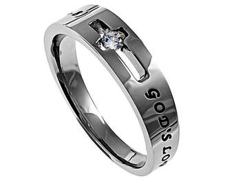 "Solitaire Ring ""God's Love Never Fails"""