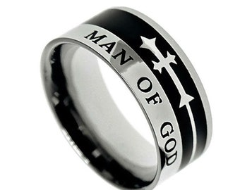 "Jet Cross Ring ""Man Of God"""