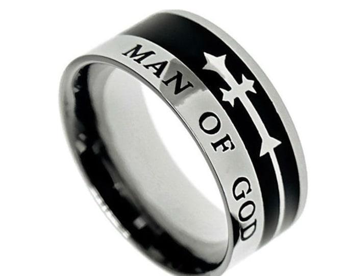 """Jet Cross Ring """"Man Of God"""""""