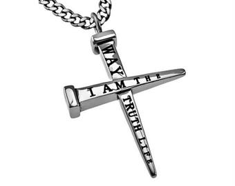 "2 Nail Cross ""Way, Truth, Life"""