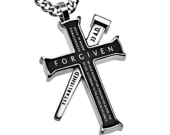"Established Cross Necklace ""Forgiven"""