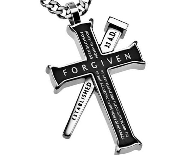 """Established Cross Necklace """"Forgiven"""""""
