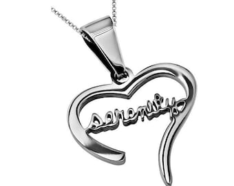 "Hand Writing Heart Necklace ""Serenity"""