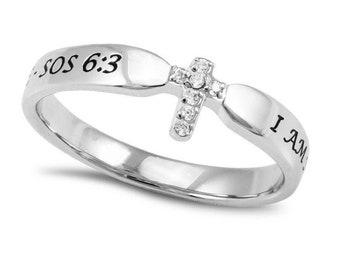 "Single Cross Ring ""I Am My Beloved's"""