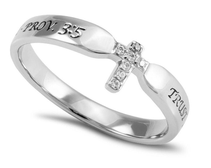 "Single Cross Ring ""Trust"""