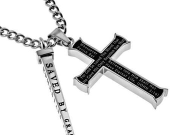 "Black Cross And Nail ""John 3:16"""