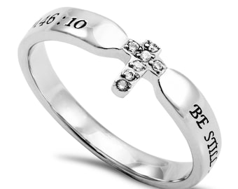 "Single Cross Ring ""Be Still"""