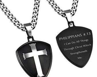 "Black R2 Shield Cross ""Christ My Strength"""