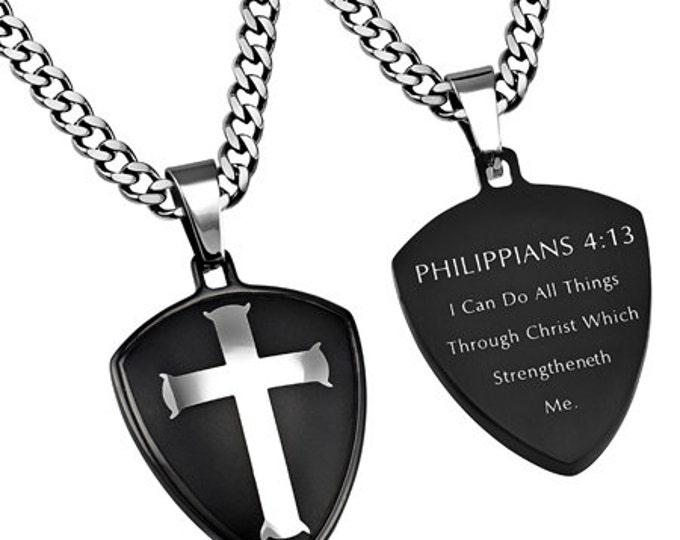 "Black R2 Shield Cross ""Christ My Strength"""