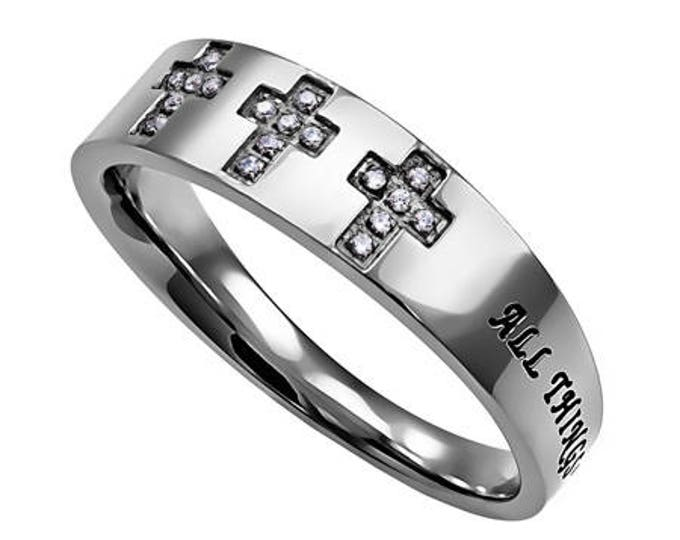 "Tri-Cross Ring ""Christ My Strength"""