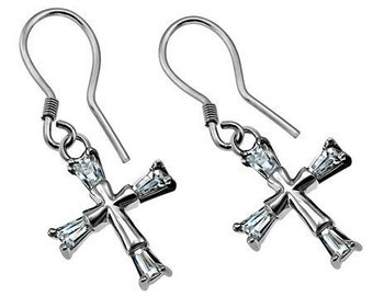 CZ Crusader Tip Cross Earrings