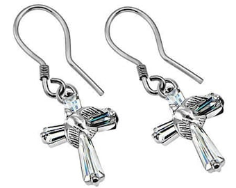 CZ Dove Prism Cross Earrings
