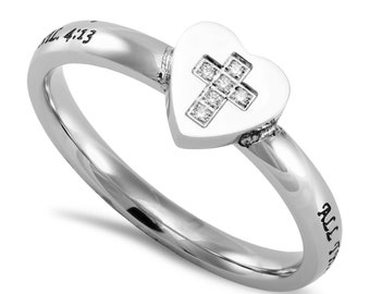 "Hear to Heart Ring ""Christ My Strength"""