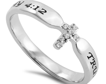 "Single Heart Ring ""True Love Waits"""