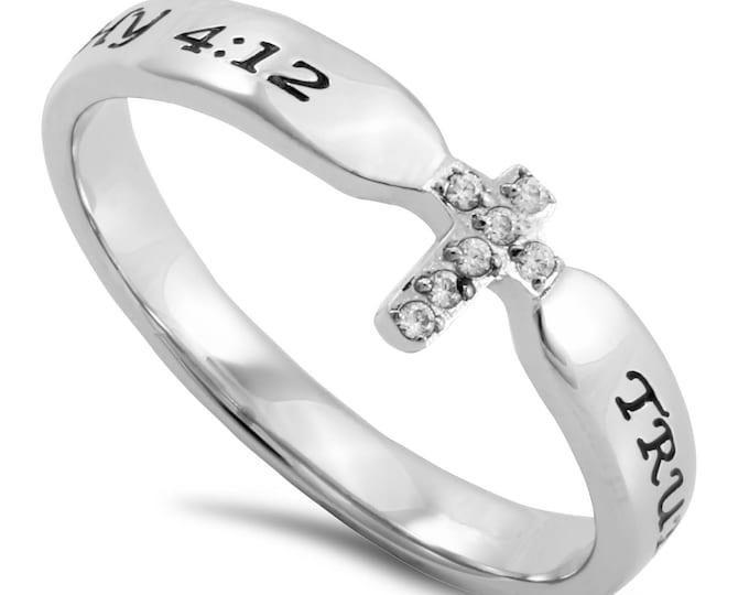 "Single Cross Ring ""True Love Waits"""