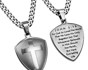 "Silver R2 Shield Cross ""John 3:16"""