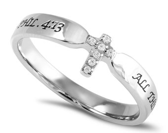 "Single Cross Ring ""Christ My Strength"""