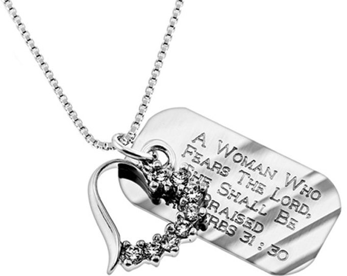 Cresent Heart Necklace with an Engraved Bible Verse