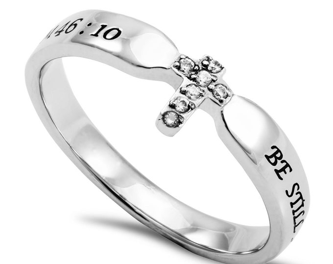"""Single Cross Ring """"Be Still"""""""