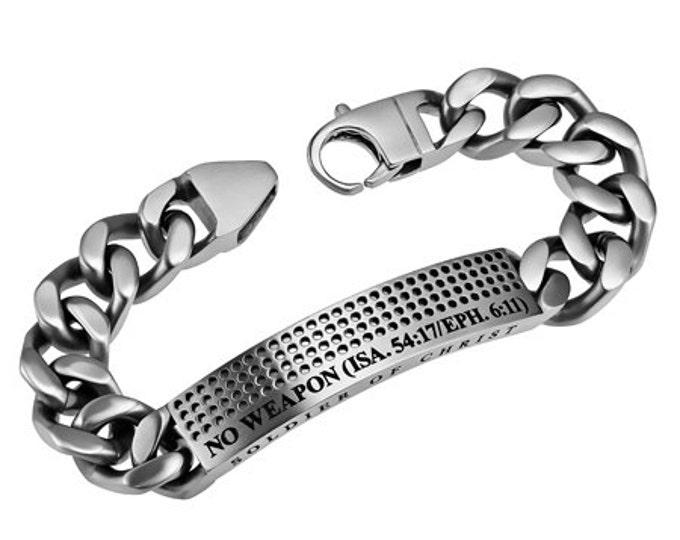"Silver Sport Bracelet ""No Weapon"""