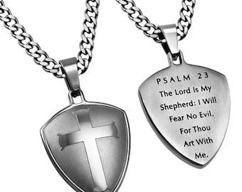 """Silver R2 Shield Cross """"Psalm 23"""""""