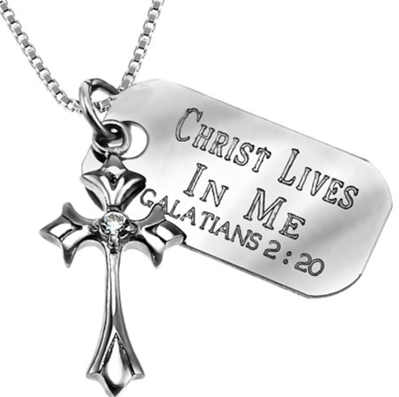 Spain star sterling cross necklace with engraved Bible Verse image 0