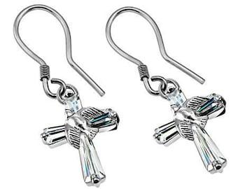 CZ Dove Prism Cross Earrings