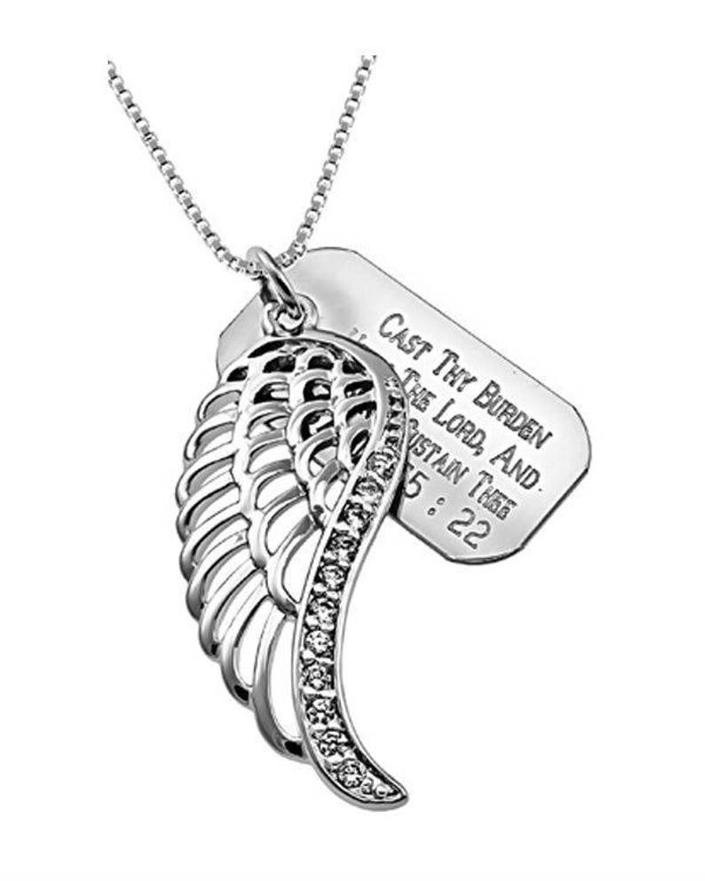 Wing Necklace/Custom Verse Tag Women's image 0