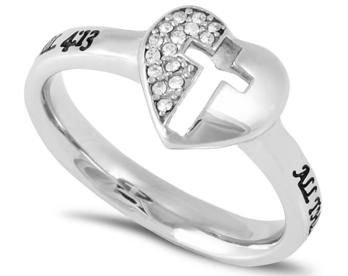"Mirror Cross Ring ""Christ My Strength"""