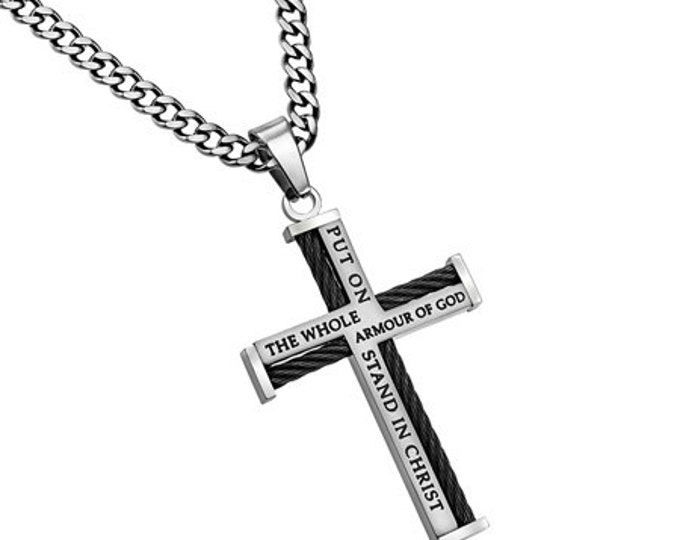 """Cable Cross Necklace """"Armor Of God"""""""