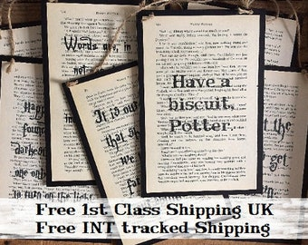 Harry Potter Poster ~ Harry Potter Print ~ Quotes on Unique Recycled Book Page ~ Harry Potter Gifts