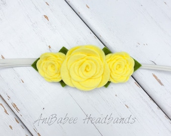 Yellow Felt Flower Headband, Baby Headband , Yellow flower headband, Felt Flower Crown Headband, Felt Baby Headbands, Felt Flowers