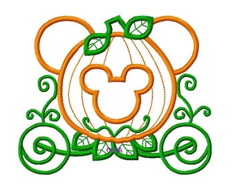 Character Mouse Princess Pumpkin Carriage Embroidery Applique Design