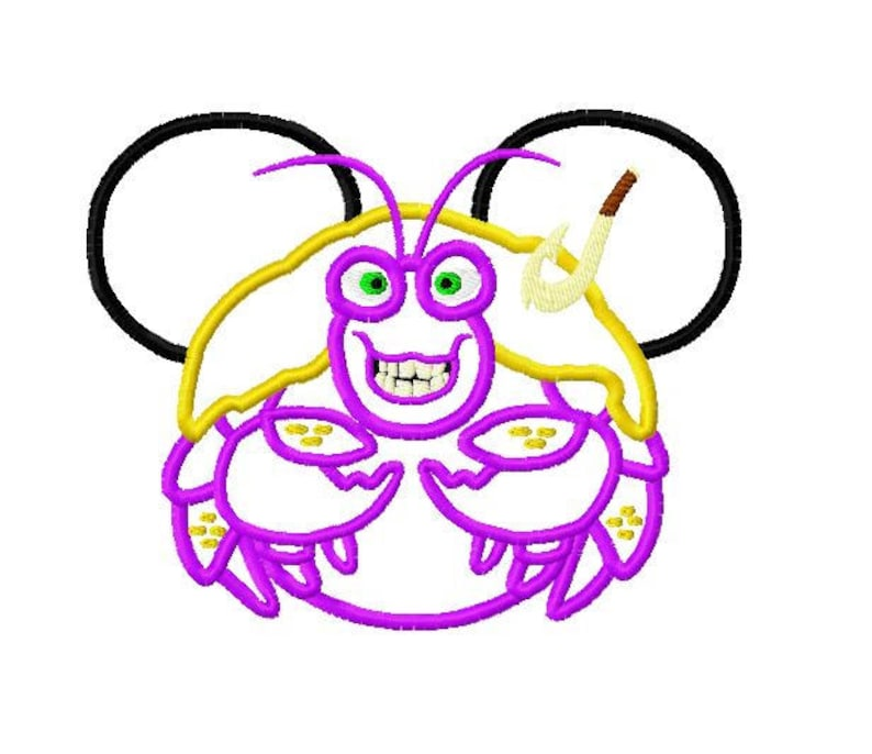 Character Inspired Mouse Moana Maui Hawaiian Shiny Crab Embroidery Applique  Design Instant Download Digital File