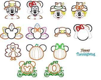 14 Design BUNDLE Thanksgiving Character Embroidery Applique Design