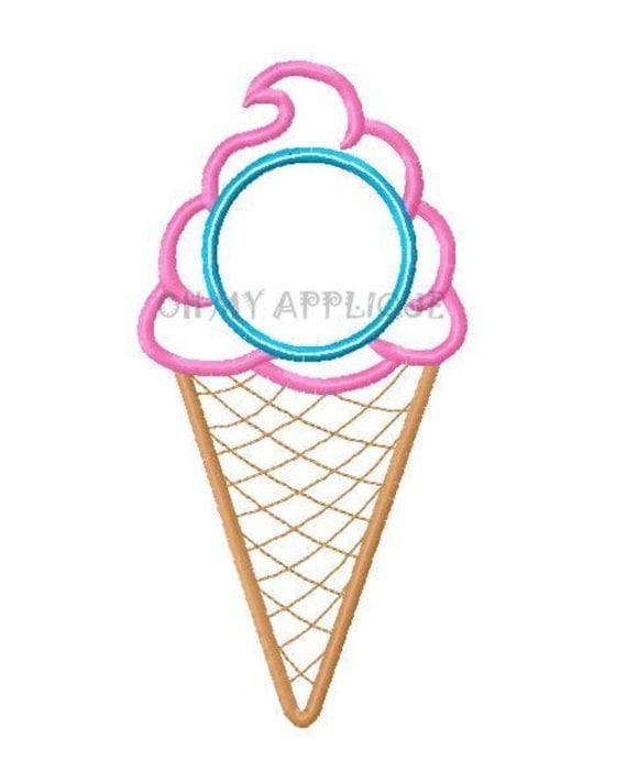 Ice cream cone monogram initial embroidery applique design etsy ccuart Images