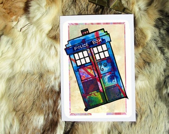 Tardis Doctor Who. Geeky Greeting Card A5. Artprint by Sophie Grunnet