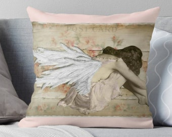 Shabby chic angel vintage inspired throw pillow decorative pillow and pillow cover by Tori Jane