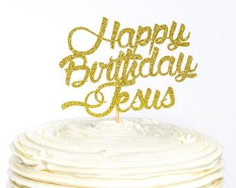 Happy Birthday Jesus Cake Topper Christmas Glitter