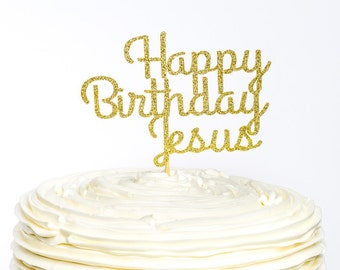 Happy Birthday Jesus Cake Topper Christmas Glitter