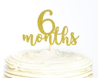 Half Birthday Glitter Cake Topper 6 Month 1 2