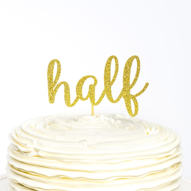 Half Birthday Glitter Number Cake Topper