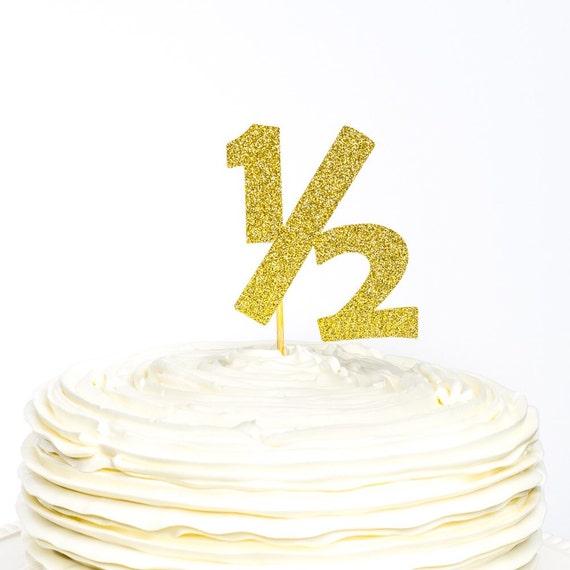 Half Birthday Glitter Cake Topper 1 2