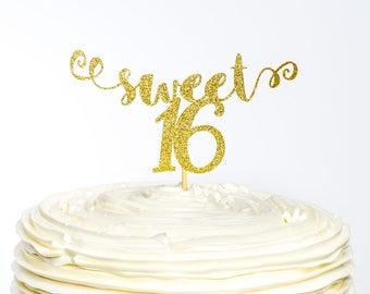 Sweet 16 Cake Topper, Sweet Sixteen Cake Topper, Cake Topper, Sweet Sixteen Birthday, Glitter Cake Topper, Birthday Cake Topper, Sixteen