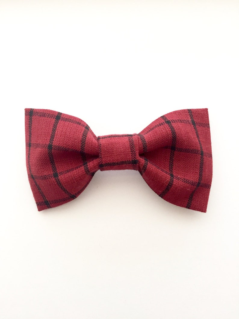 104455a2cae5 Red and Black Plaid Bow Tie Red and Black Tartan Bow Tie Bow   Etsy