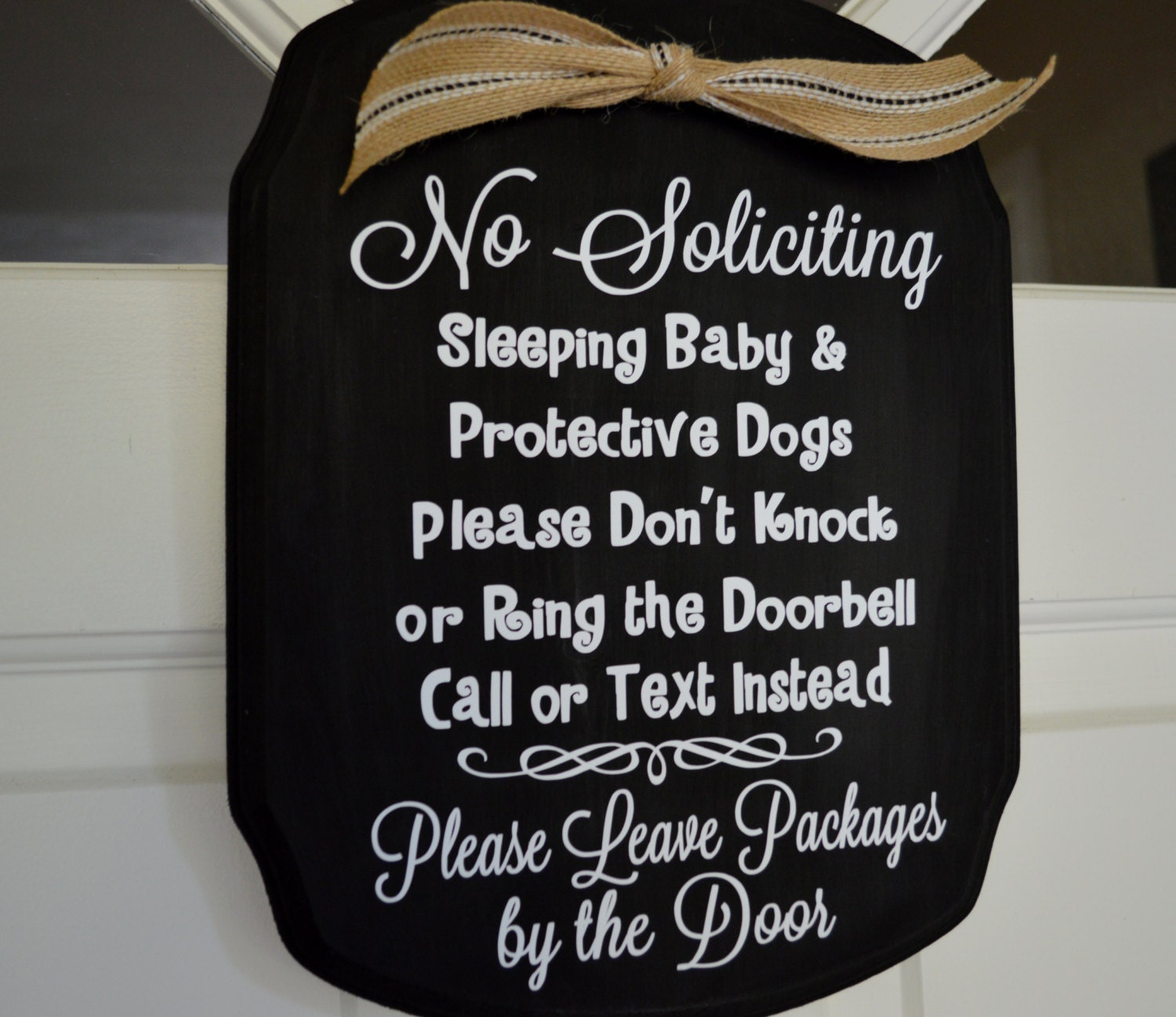 No Soliciting Baby Sleeping And Protective Dog Door Sign